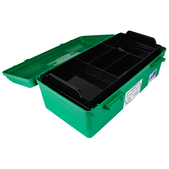 Green Plastic Cases with Liftout Tray Medium interior