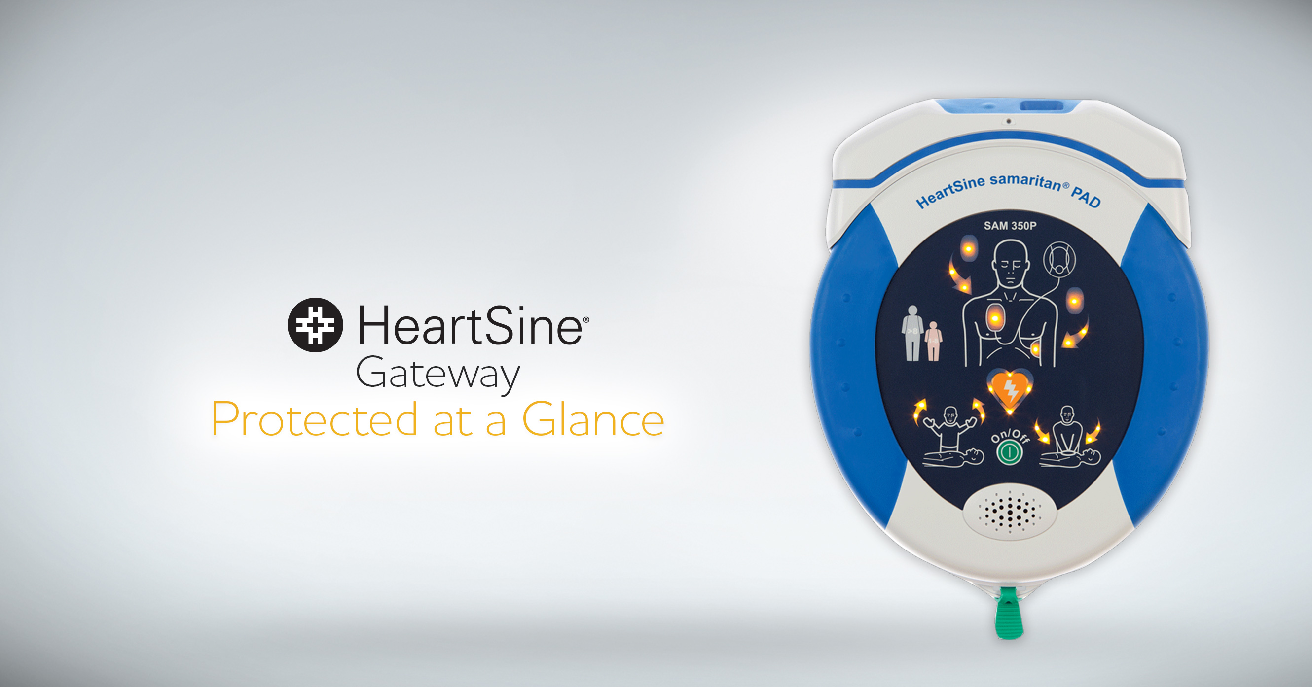 Heartsine AED with Gateway wifi adapter on top