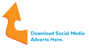 Arrow pointing towards download for social media graphics