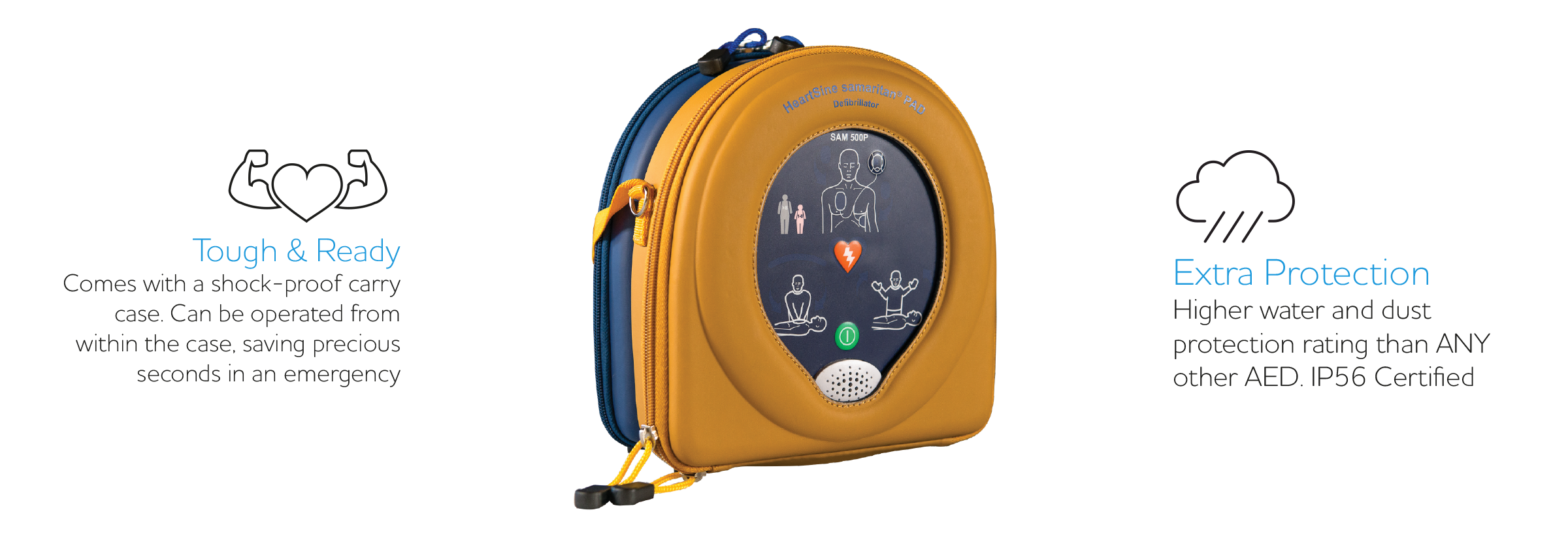 Key information for Heartsine 500p - Including Ip56 Rating and The tough case.
